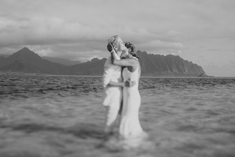 Vanessa and Makena marry at Kauloa Ranch Secret Island Wedding in Oahu, Hawaii photography by Michael Segal Photo www.michaelsegalphoto.com