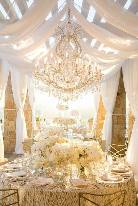 Beautiful gold and white wedding at Malibu Rocky Oaks in Malibu, California by Michael Segal Photography www.michaelsegalphoto.com